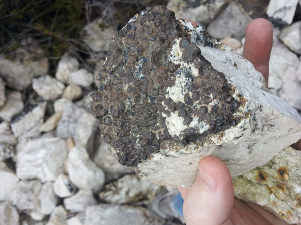 Garnet crystals on feldspar matrix