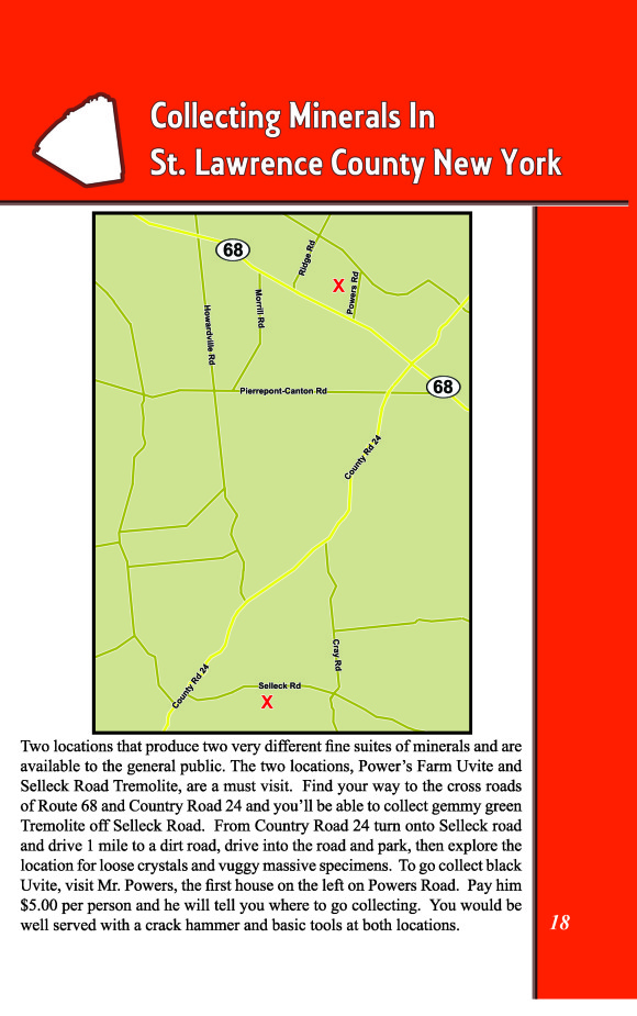 map to collect tremolite and uvite at power's farm and selleck road in st. lawrence county, new york