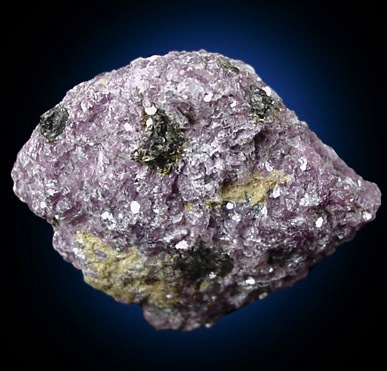 Microlite in crude 3-4 mm. crystals in fine-grained purple Lepidolite