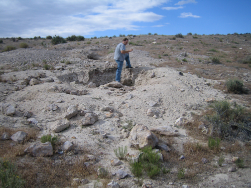 Justin inspecting the diggings at the Dugway Geode location