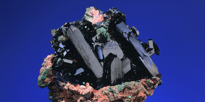 Famous 'Newmont' Azurite; Tsumeb Mine- approximately 30 cm. across with crystals to 15 cm. (photo © American Museum of Natural History)
