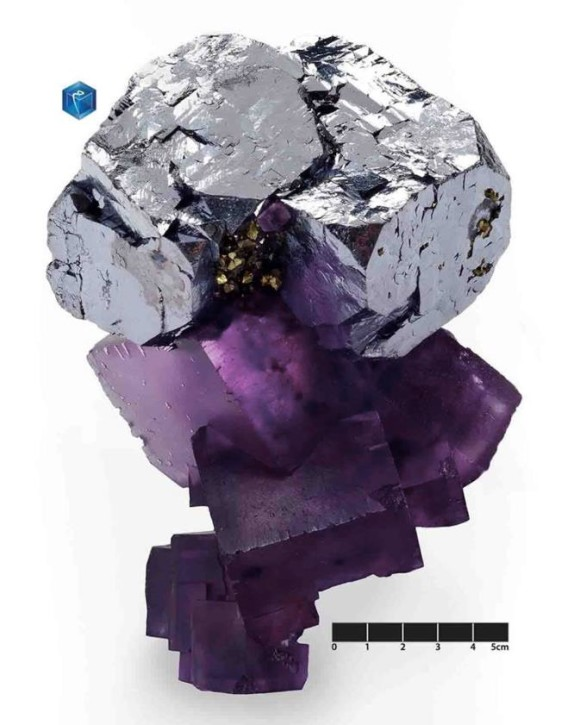 Galena on Fluorite: Denton Mine, Harris Creek Sub-District, Hardin Co. Illinois (photo © MIM Museum, Beirut)