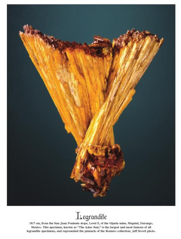 Famous 'Aztec Sun' Legrandite; ~20 cm, Ojuela Mine (photo © Jeff Scovil & the Mineralogical Record)
