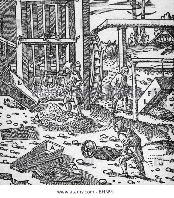 Illustration from Georgius Agricola's seminal 1556 book 'De Re Metallica' illustrating mining at Jachymov (photo © fotosearch.com)