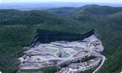 aerial photo of Poudrette Quarry ( photo © McGill University)