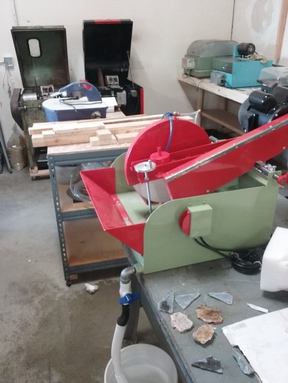 So many saws, grinders and polishing units are being set up and primed for all the great lapidary classes that will be offered.