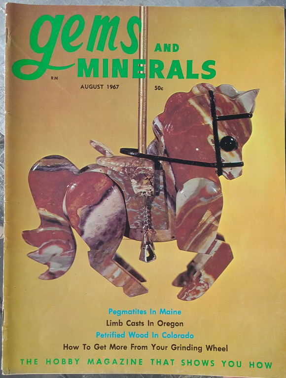 Cover of Gems and Minerals, August 1967 with a stone horse on the cover.