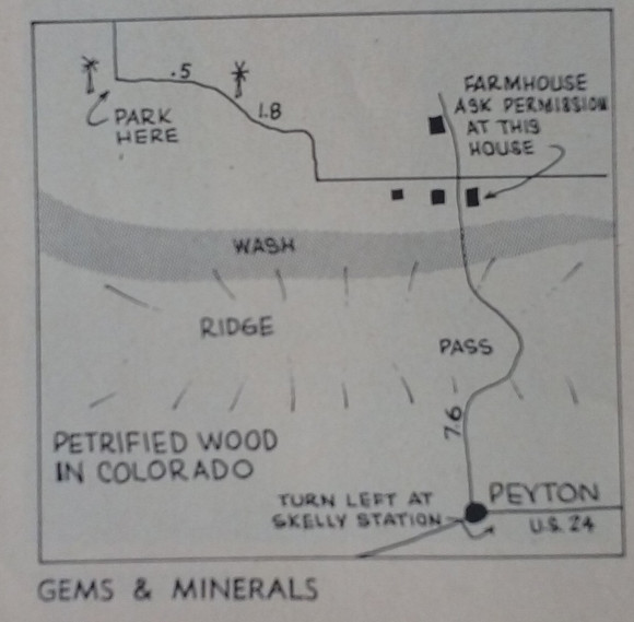 Map from 1967 Petrified Wood in Colorado Article in Gems and Minerals