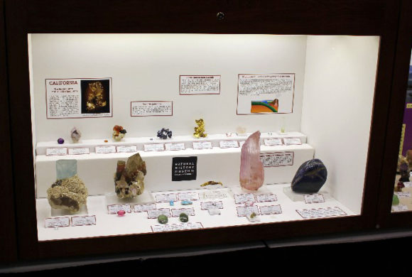 Minerals from the state of California showcased together.