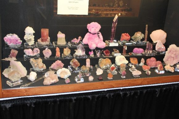 The color pink is being use in this display in order to draw awareness a cause important to the exhibitor.