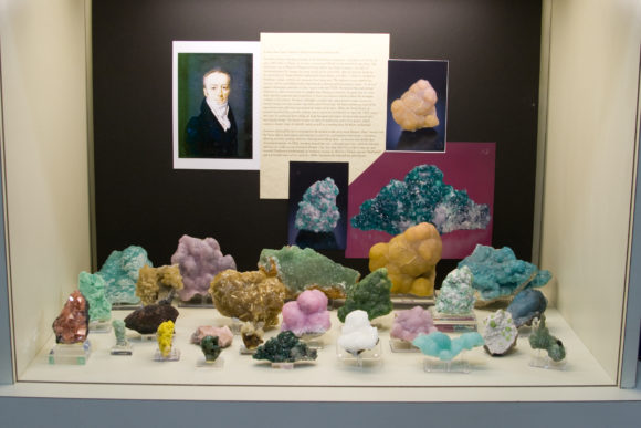 Glossy Smithsonite Specimens from the Gail and Jim Spann Collection, on display in 2009