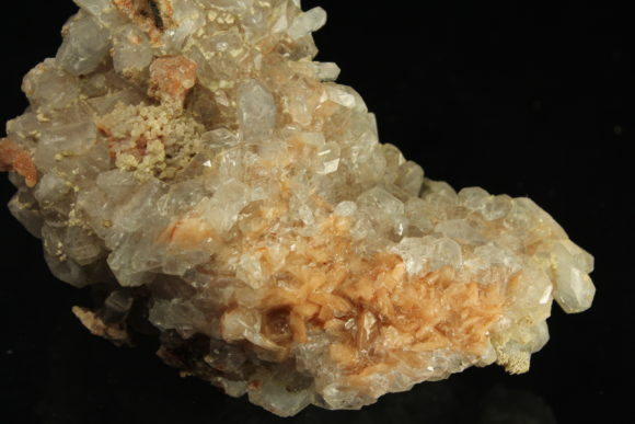Orange Calcite crystals with Blue Celestite crystals from the Swell