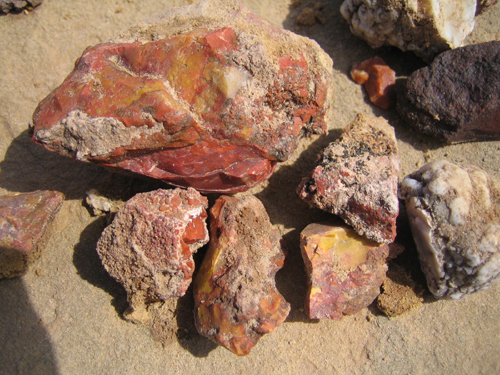 Red and Yellow Jasper with a bubbly rind, found near interstate 70 in central Utah.