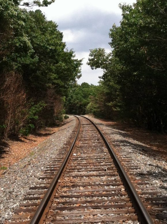 The Railroad to Amber. Cross over here. Beware of trains.
