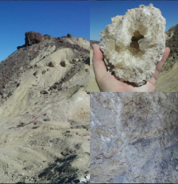 Gem crystal clusters of Colemanite are found in the Calico Mountains, ready to come home with you!