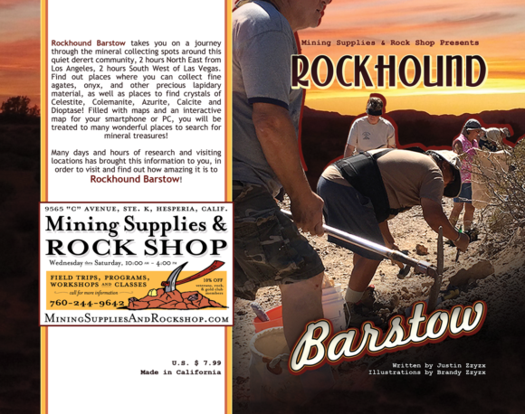 Cover and Back Cover of the Rockhounding Barstow Field Guide, full of mineral collecting locations you can visit!