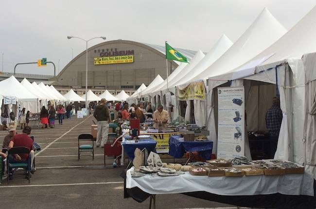 Vendors Set Up Outside in Tents at Denver Coliseum Mineral, Fossil & Gem Show